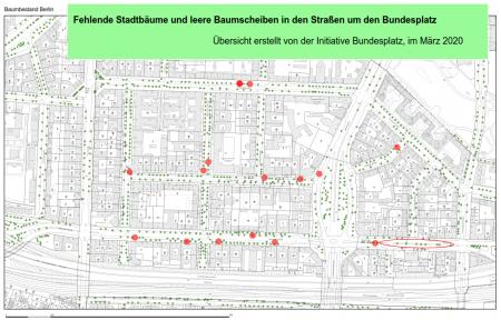 Fehlende Stadtbäume und leere Baumscheiben in den Straßen um den Bundesplatz